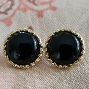 Vintage Black Gold Earrings/ Rope Design Edges